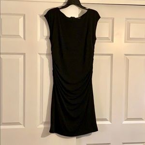 Ann Taylor black stretch dress with ruching